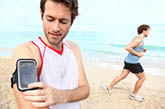 man exercising with smartphone