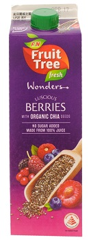 F&N Fruit Tree Fresh Wonders, Luscious Berries with Organic Chia Seeds Juice, Singapore